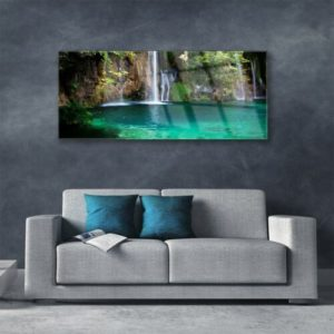 Print on Glass Wall art 125x50 Picture Image Lake Waterfall Nature 1